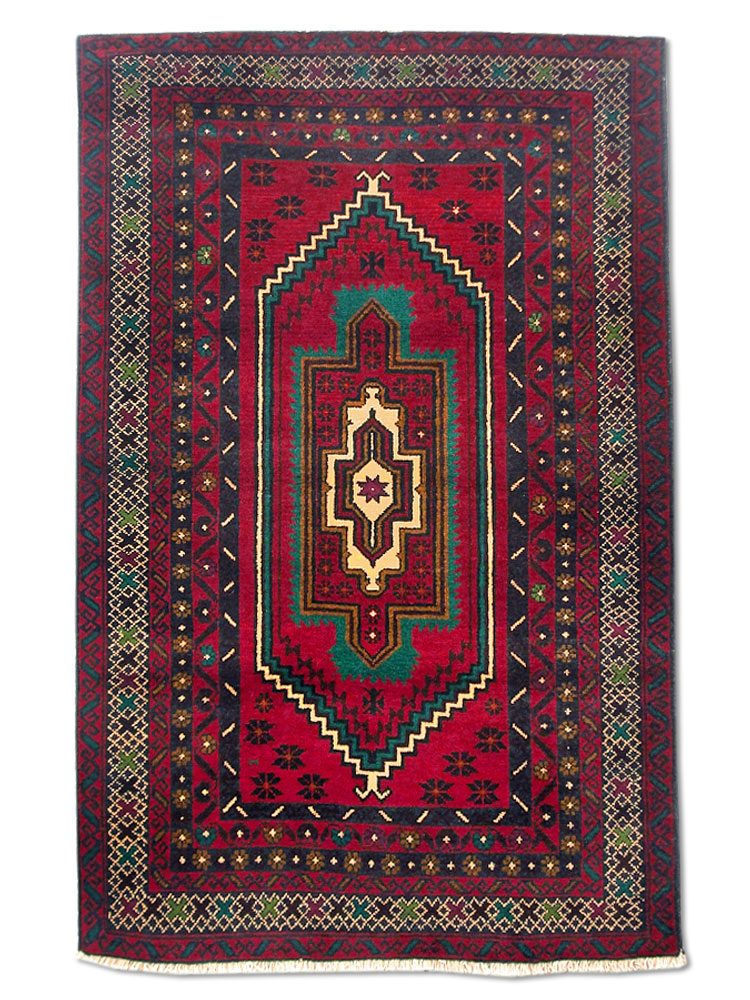 Afghan Rug - Dark Red Base